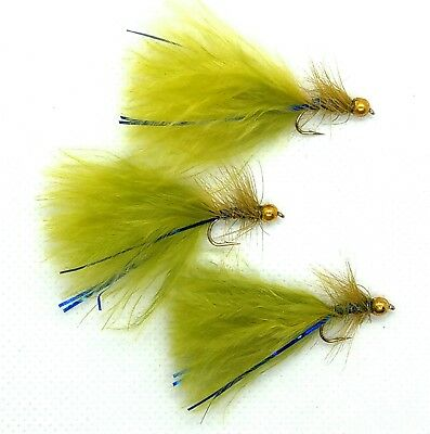 Goldhead Olive BLUE FLASH DAMSEL Flies 3 Pack Trout Fly Fishing Sizes 10,12,14